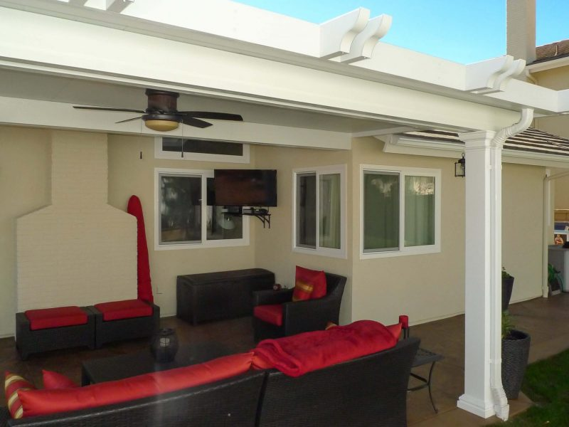 Exterior of a Solid Insulated Patio Cover with a ceiling fan and LED Lights in Trabuco Canyon, CA