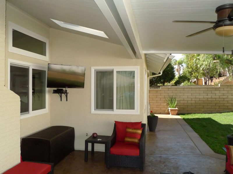 Underside of a Solid Insulated Patio Cover with a ceiling fan and LED Lights in Trabuco Canyon, CA