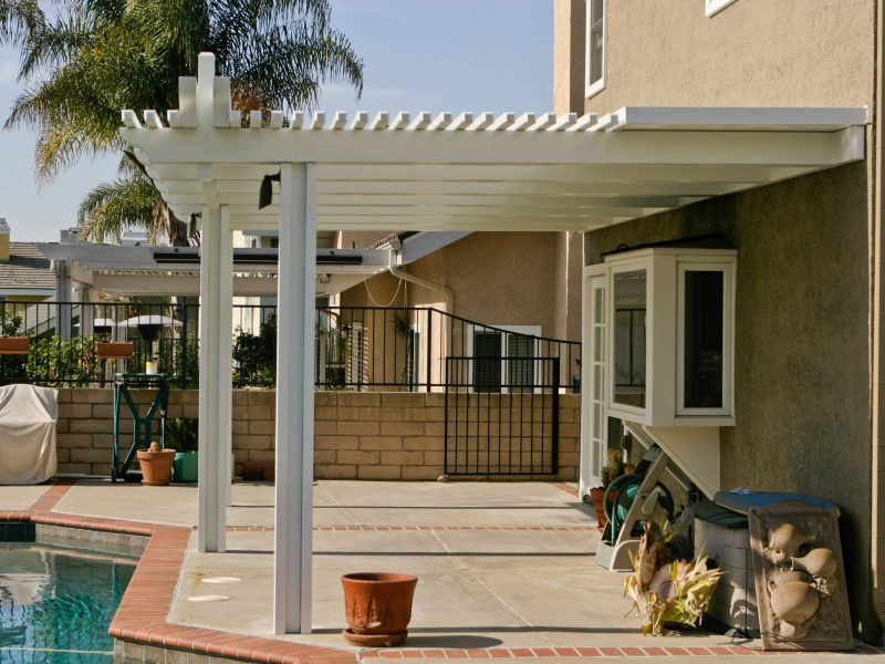 Side View of Combination Open Lattice Patio Cover