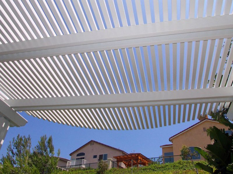 Underside of an Open Lattice Patio Cover showing a curved radius cut on the front side in Ladera Ranch, CA