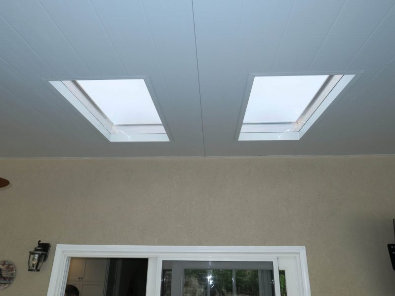 Underside of a Solid Insulated Patio Cover detailing 2 skylights in Yorba Linda, CA
