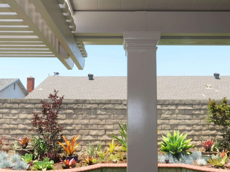Detail of a Square Column on a Solid Insulated Patio Cover in Anaheim, CA