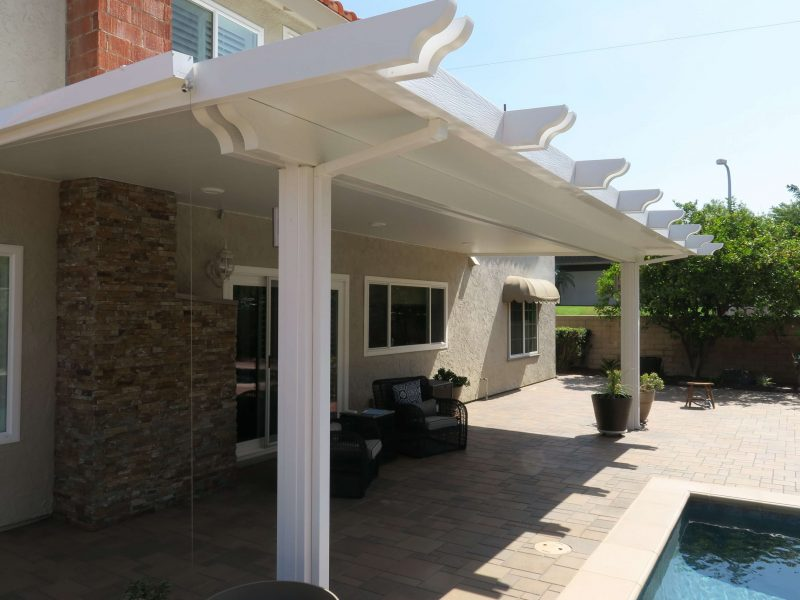 Exterior of a Solid Insulated Patio Cover with LED Lights in Foothill Ranch, CA