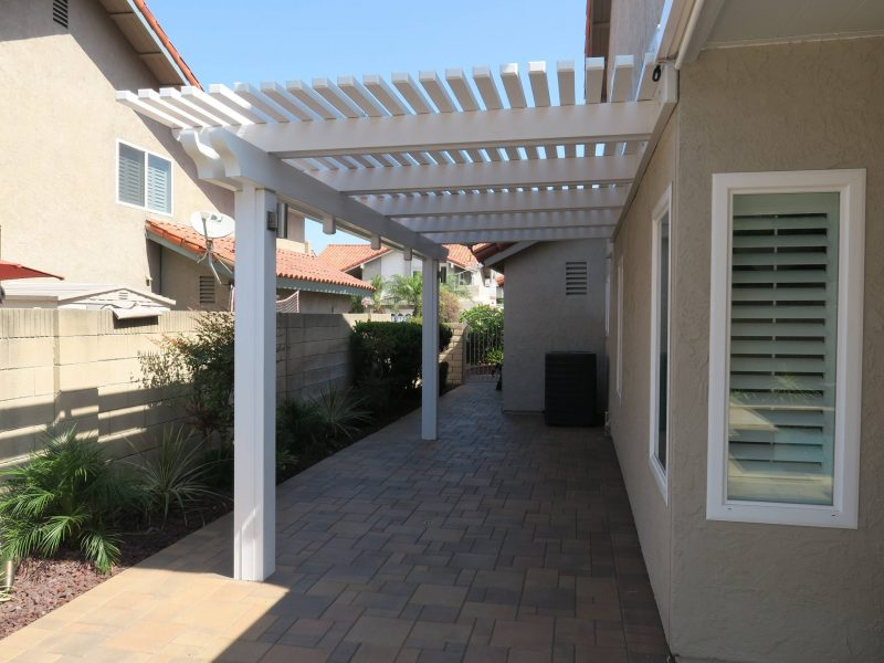 Exterior of an Open Lattice Patio Cover on the side of a customer's home in Orange County, CA