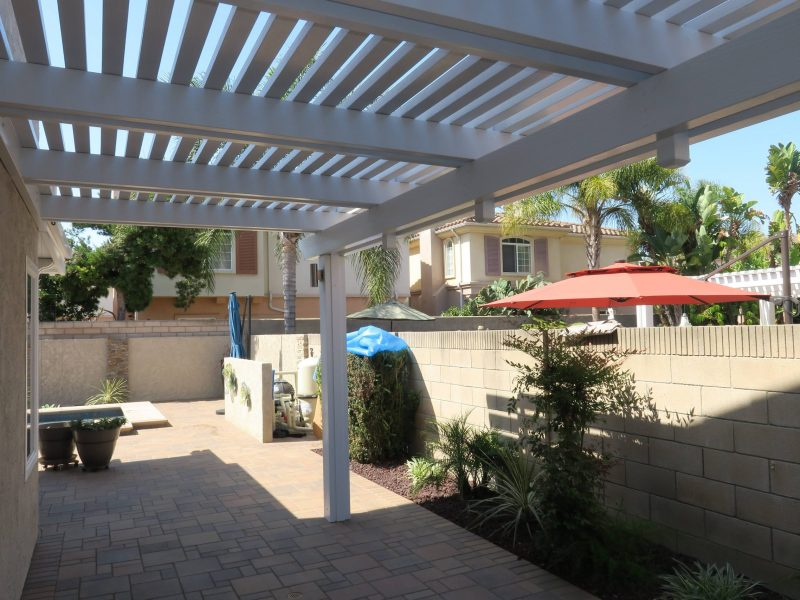 Underside of an Open Lattice Patio Cover on the side of a customer's home in Orange County, CA