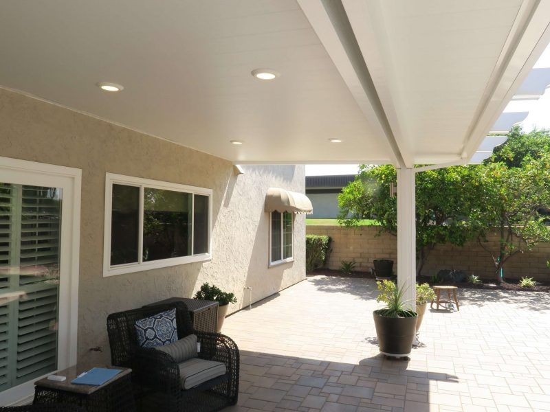 Underside of a Solid Insulated Patio Cover with LED Lights in Foothill Ranch, CA