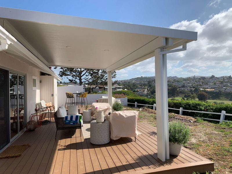 Exterior of a Roof Mounted Solid Insulated Patio Cover with LED lights in San Clemente, CA