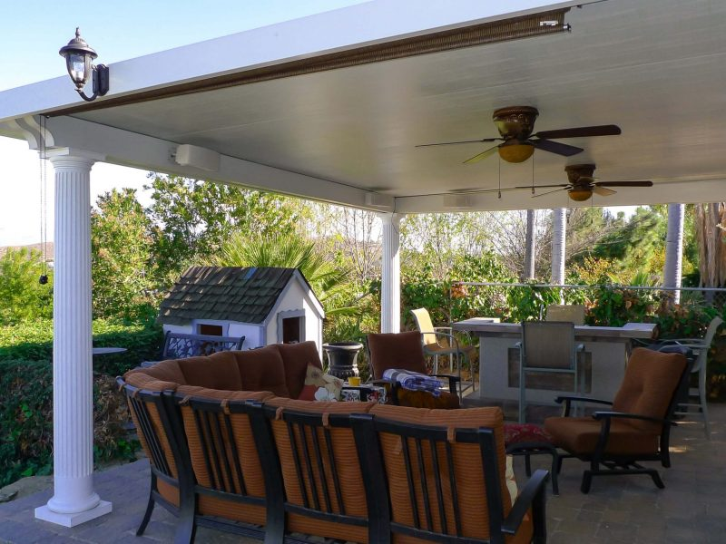 Exterior of a Solid Insulated Patio Cover with 2 Ceiling Fans, Roman Columns, Speakers & LED Lights in Diamond Bar, CA