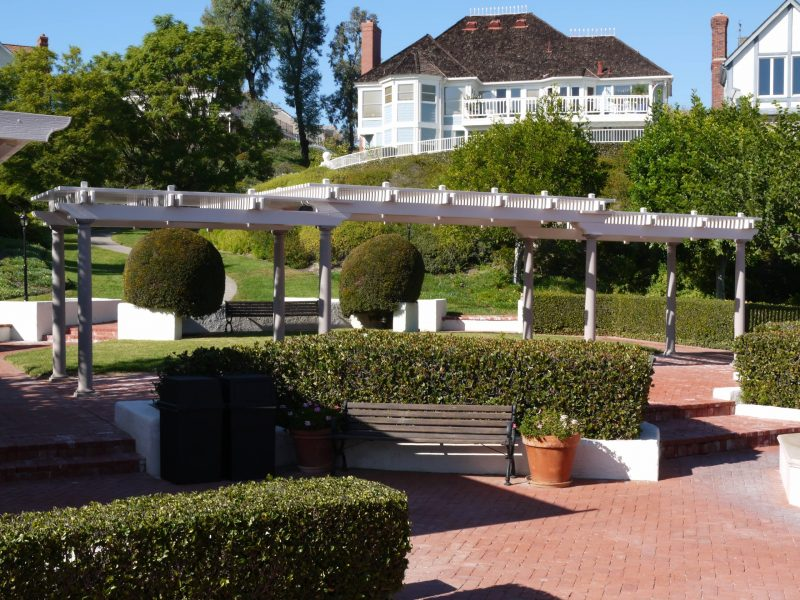 Exterior of a Freestanding Open Lattice Patio Cover with Roman Columns in Coto De Caza, CA