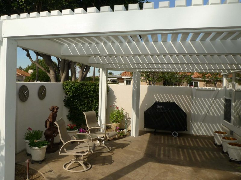 Exterior of an Open Lattice Patio Cover in Orange, CA