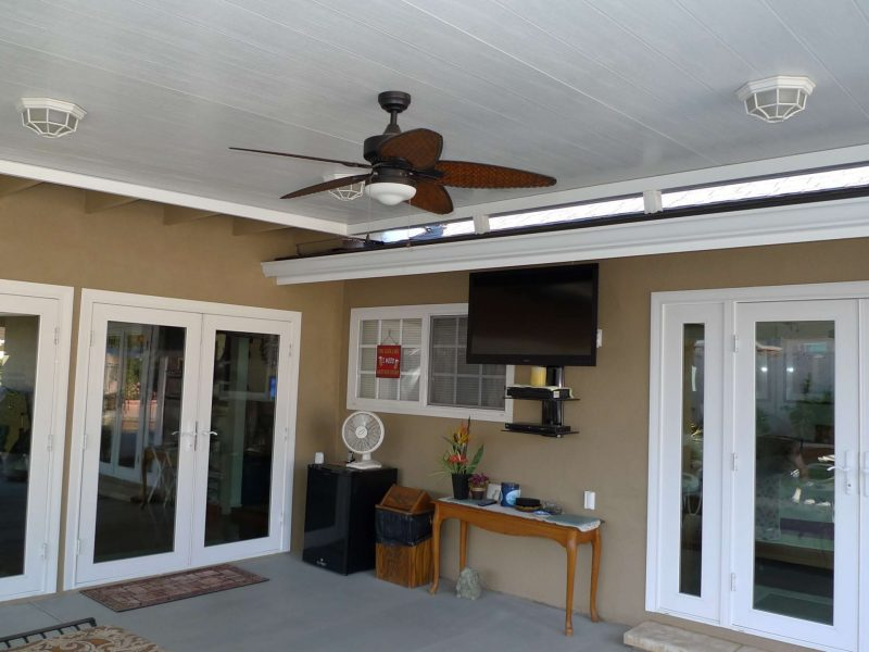 Underside of a Roof Mounted Solid Insulated Patio Cover with LED Lights and 2 Ceiling Fans in Mission Viejo, CA