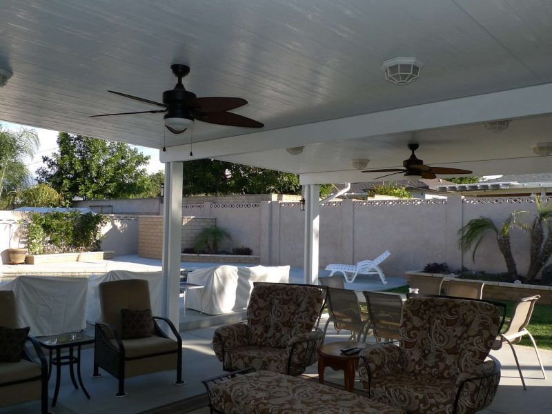 Underside of a Solid Insulated Patio Cover with LED Lights and 2 Ceiling Fans in Mission Viejo, CA