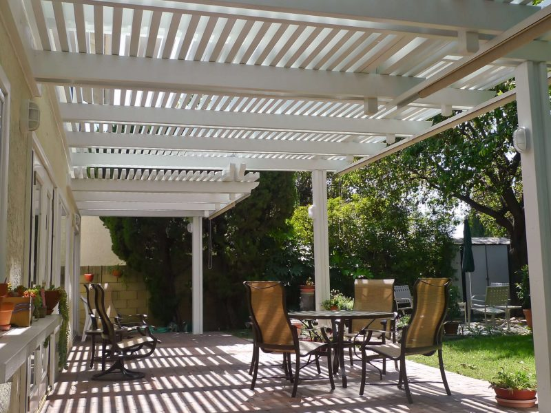 Underside of an Open Lattice Patio Cover with LED Lights in Tustin, CA