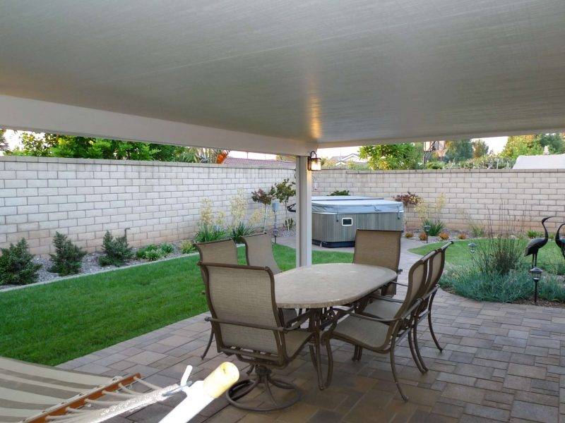 Underside of a Solid Insulated Patio Cover with LED Lights in Orange, CA