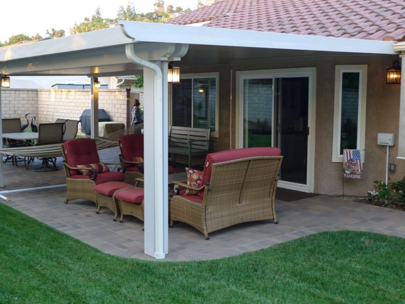 Exterior of a Solid Insulated Patio Cover with LED Lights in Orange, CA
