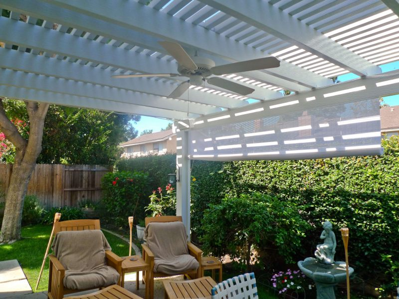 Underside of an Open Lattice Patio Cover with Ceiling Fan, LED Lights & Drop Shade in Irvine, CA