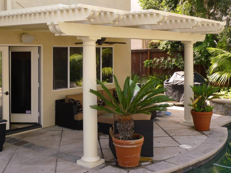 Exterior of Combination Open Lattice & Solid Insulated Patio Cover with Roman columns and a ceiling fan, facing the home in Rancho Santa Margarita, CA