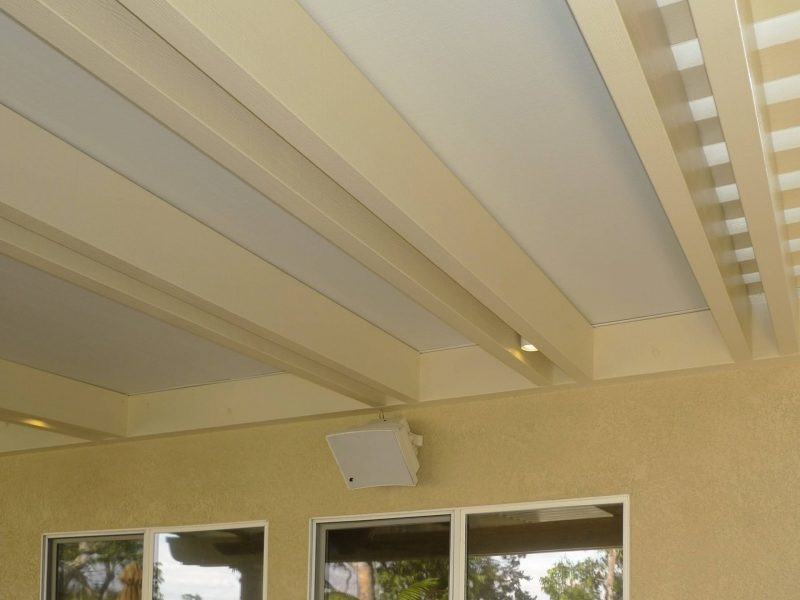 Underside of a Combination Open Lattice & Solid Insulated Patio Cover showing a rafter detail in Rancho Santa Margarita, CA