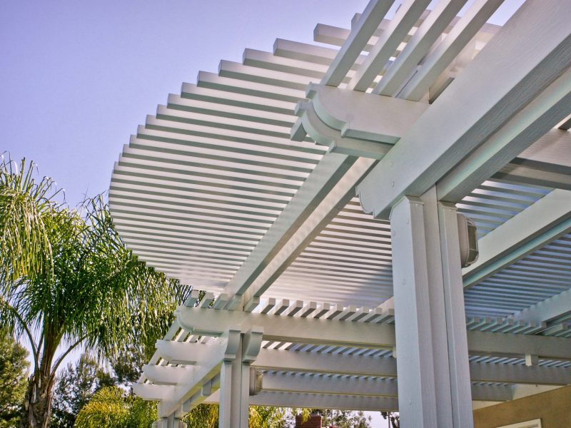 Underside of an Open Lattice Patio Cover with radiused lattice cuts on front with LED Lights in Costa Mesa, CA