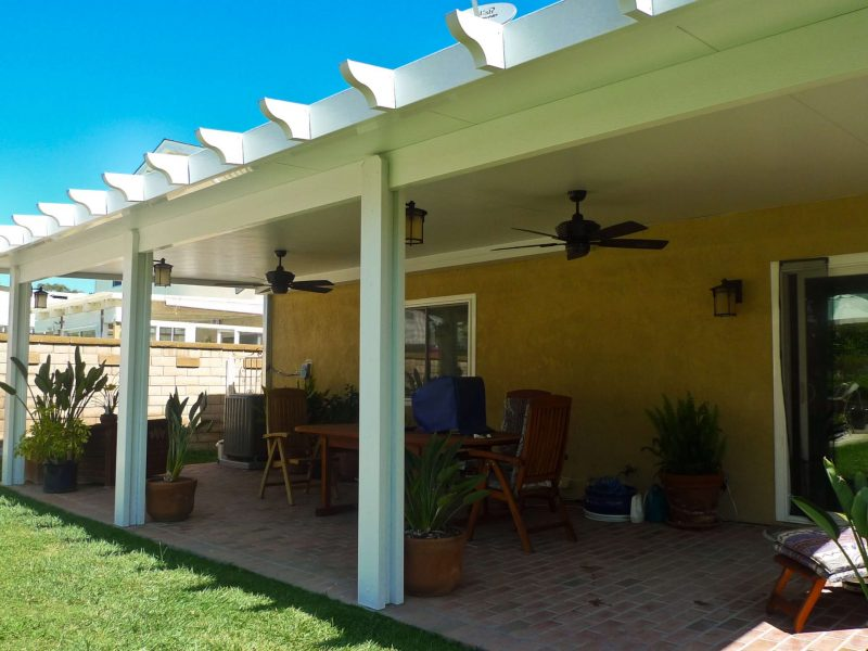Exterior of a Solid Insulated Patio Cover with 2 Ceiling Fans and LED Lights in Santa Ana, CA