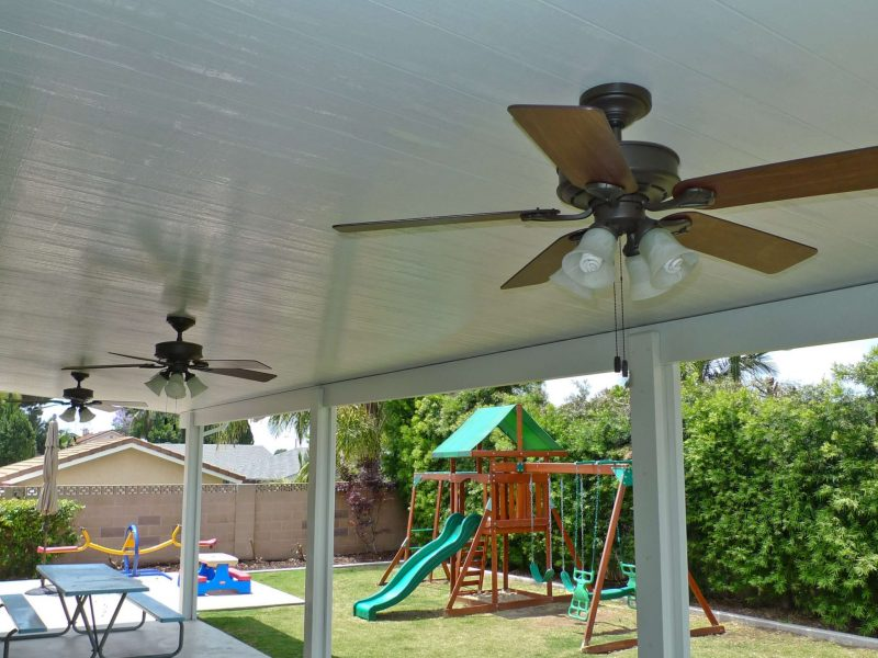 Underside of a Solid Insulated Patio Cover with 3 Ceiling Fans and LED Lights in Placentia, CA