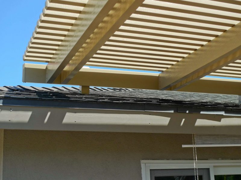 Detail of a Roof mount Attachment of an Open Lattice Patio Cover in Huntington Beach, CA