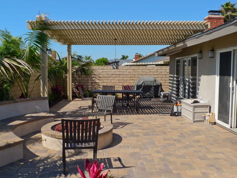 Exterior of an Open Lattice Patio Cover with LED Lights in Huntington Beach, CA
