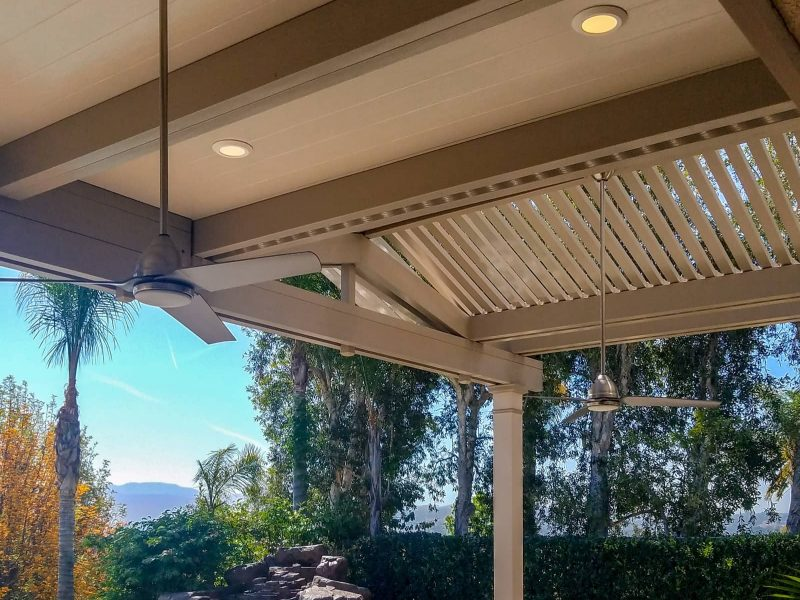 Underside of Combination Open Lattice & Solid Insulated Patio Cover with LED lights & ceiling fans in Yorba Linda, CA