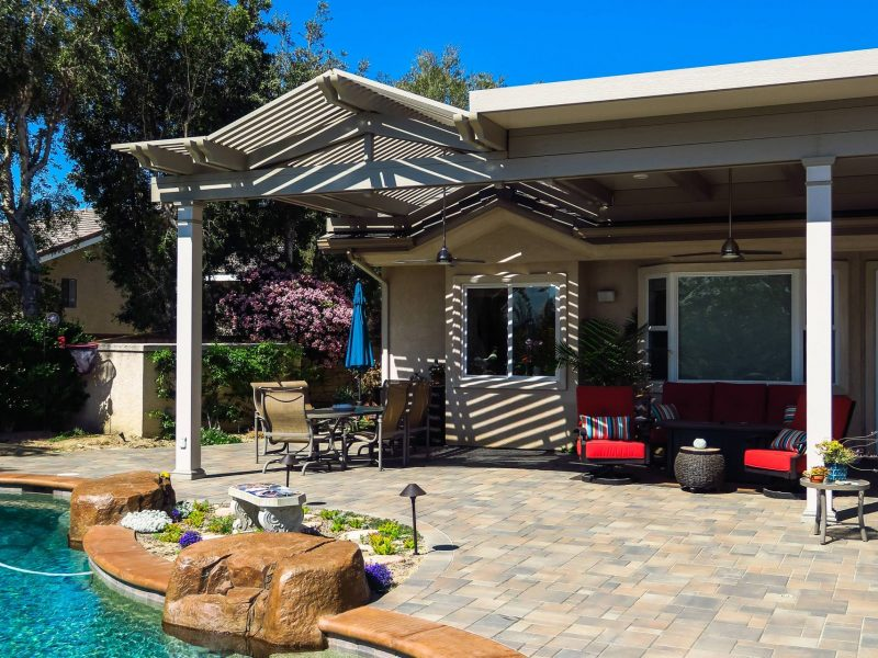 Exterior of Combination Open Lattice & Solid Insulated Patio Cover with LED lights & ceiling fans in Yorba Linda, CA